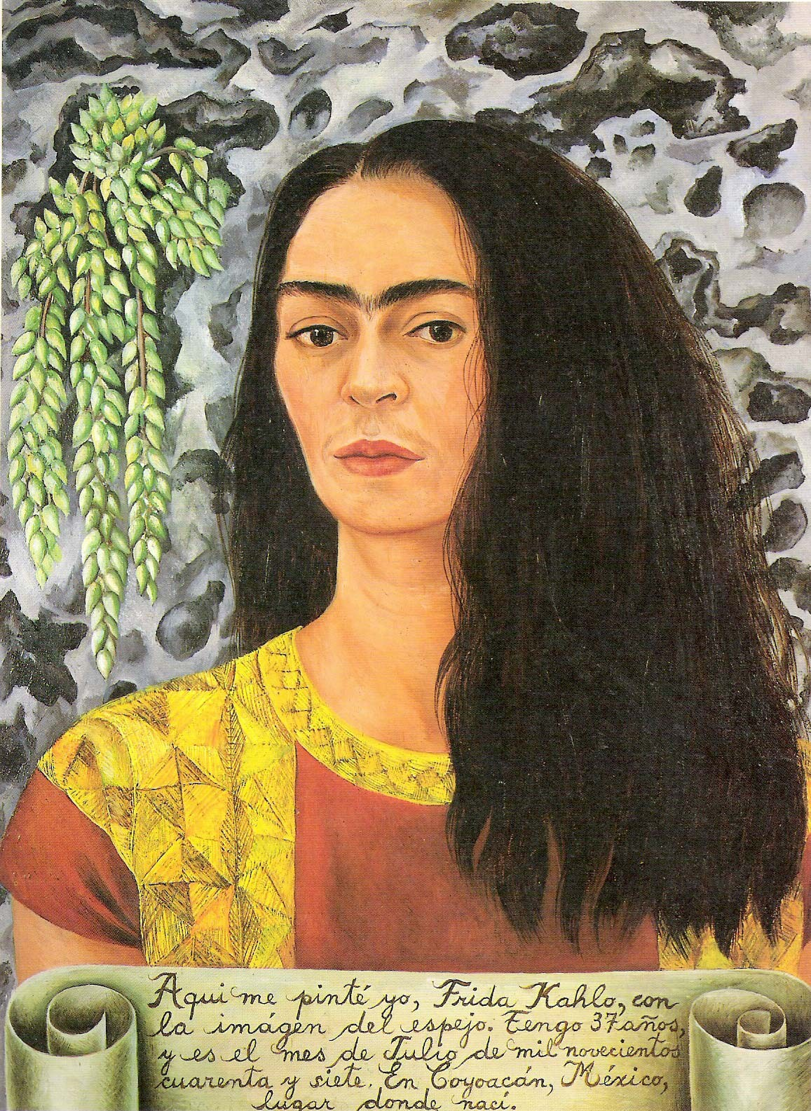Self-Portrait with inscription, 1944 Frida Kahlo